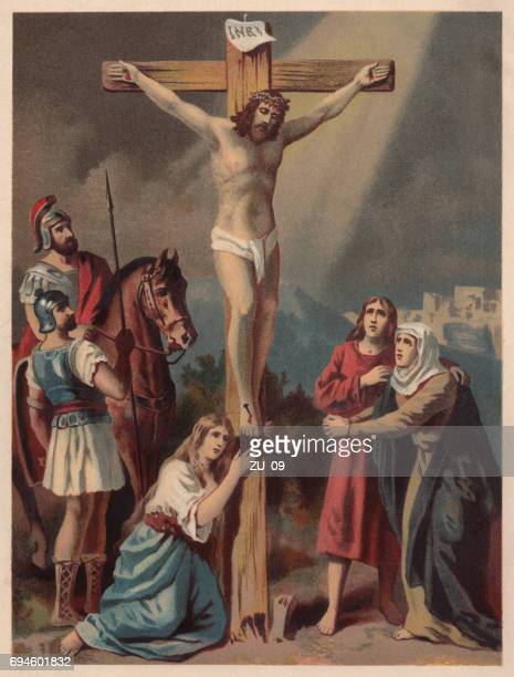 crucifixion of jesus, chromolithograph, published in 1886 - jesus christ stock illustrations, clip art, cartoons, & icons
