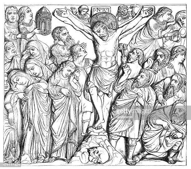 crucifixion of jesus illustration - the crucifixion stock illustrations, clip art, cartoons, & icons