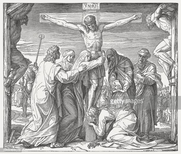 crucifixion of jesus, wood engraving, published in 1890 - holy week stock illustrations, clip art, cartoons, & icons