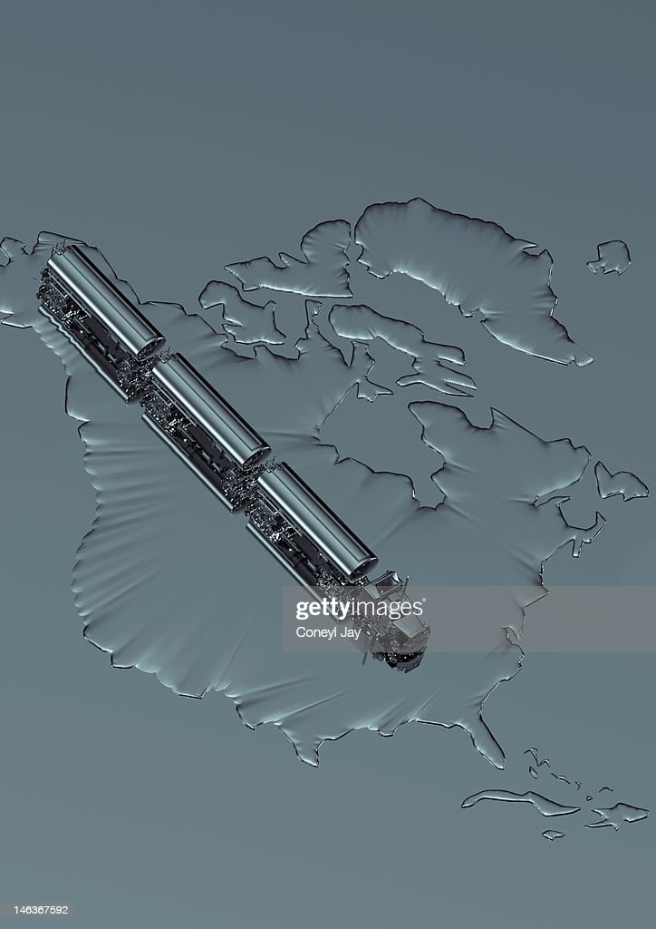 CGI of crude oil tanker truck on map of USA : Illustrationer