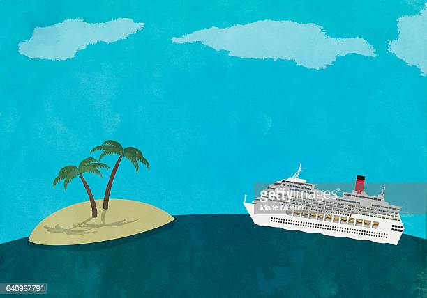 cruise ship by island on sea - nautical vessel stock illustrations