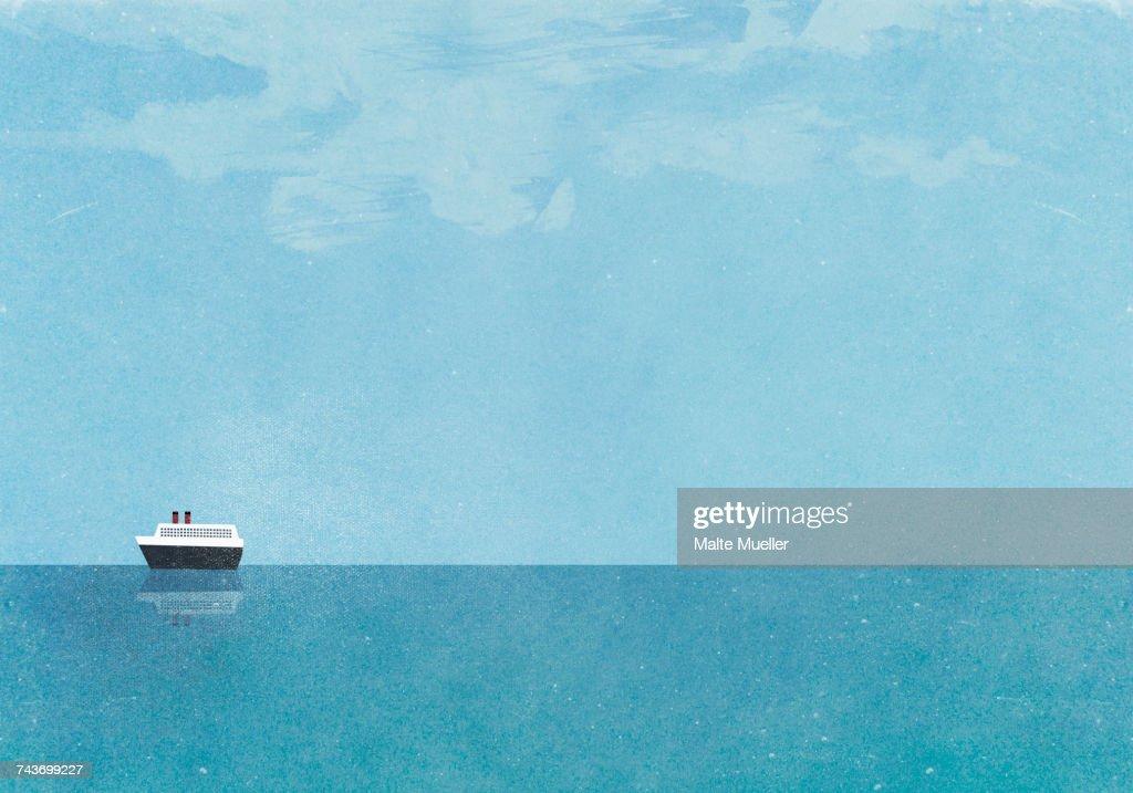 Cruise ship moving on sea against blue sky : Stock Illustration