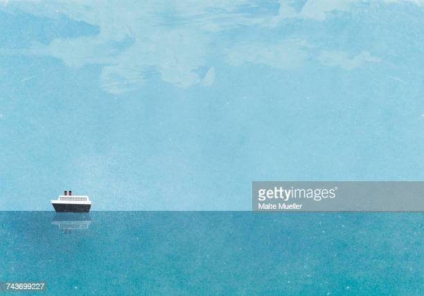 cruise ship moving on sea against blue sky - journey stock illustrations