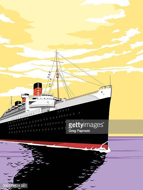 cruise ship sailing through water - 遠洋定期船点のイラスト素材/クリップアート素材/マンガ素材/アイコン素材