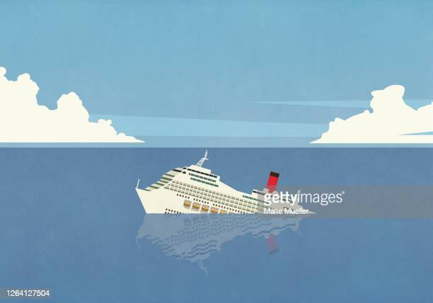 cruise ship sinking in ocean - nautical vessel stock illustrations