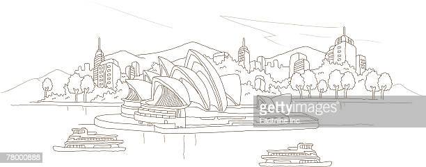 cruise ships in the sea, sydney opera house, new south wales, sydney, australia - sydney opera house stock illustrations