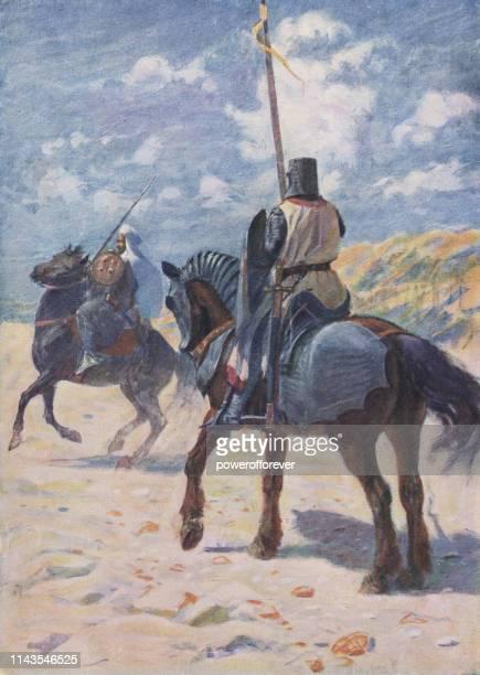 ilustraciones, imágenes clip art, dibujos animados e iconos de stock de caballero cruzado encontrando un emir morisco-siglo 12 - moruno