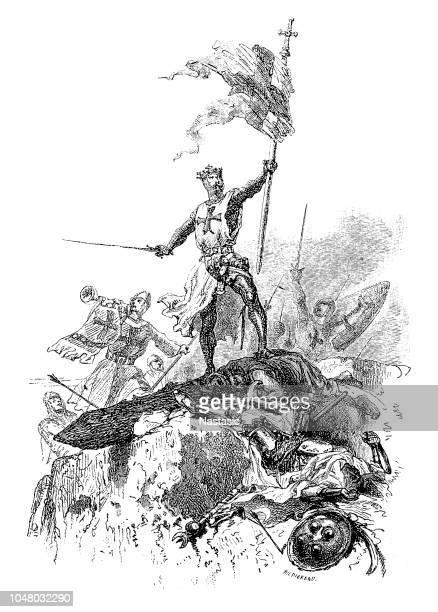 crusaders  ,assault on st. jean d'acre - balkans stock illustrations