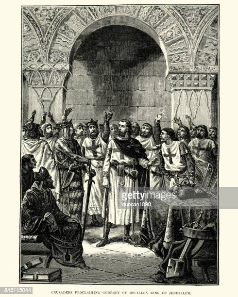 ilustrações de stock, clip art, desenhos animados e ícones de crusaders proclaiming godfrey of bouillon, king of jerusalem - jerusalem antiga