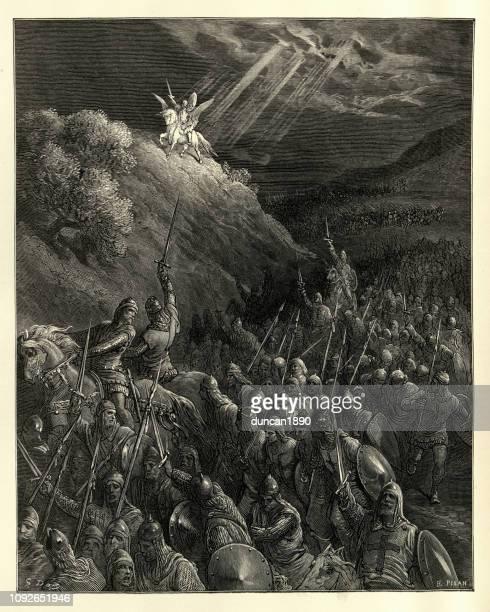 illustrations, cliparts, dessins animés et icônes de croisades, apparition de saint-georges, mont des oliviers - first occurrence