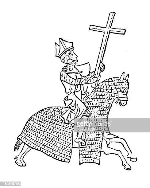 ilustrações, clipart, desenhos animados e ícones de crusading bishop - bishop clergy
