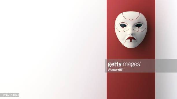 crying mask hanging on wall, 3d rendering - mask disguise stock illustrations