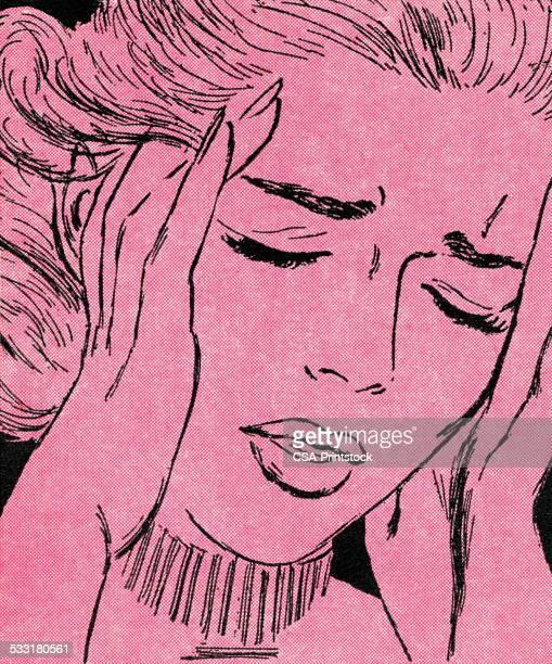 ilustraciones, imágenes clip art, dibujos animados e iconos de stock de llanto mujer - dolor de cabeza