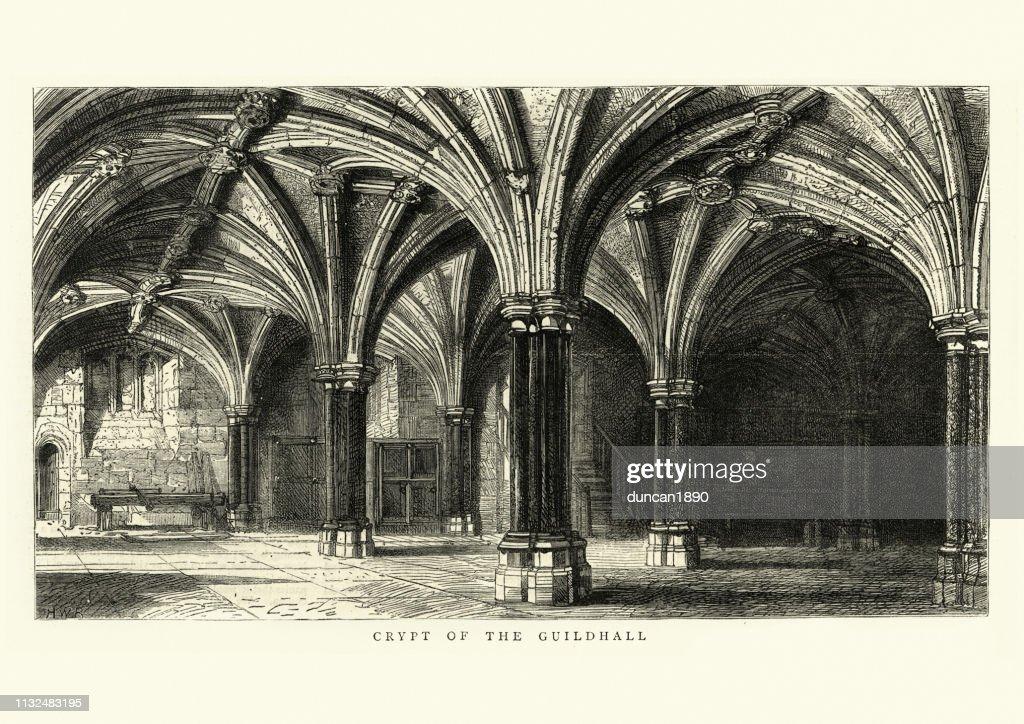 ロンドンのギルドホールの地下室中世の建築 : ストックイラストレーション