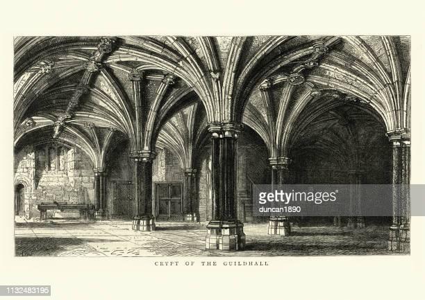 ロンドンのギルドホールの地下室中世の建築 - ギルドホール点のイラスト素材/クリップアート素材/マンガ素材/アイコン素材