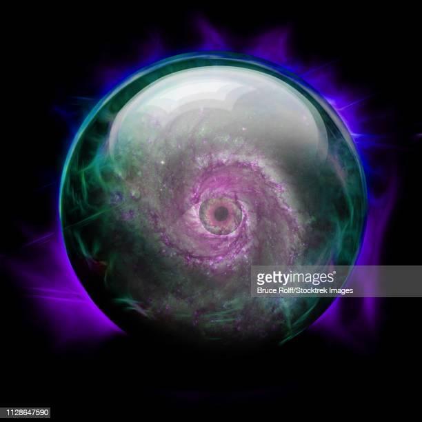 ilustraciones, imágenes clip art, dibujos animados e iconos de stock de crystal ball with spiral galaxy eye in center. - galaxiaespiral