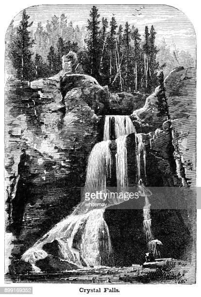 crystal falls in yellowstone park - waterfall stock illustrations, clip art, cartoons, & icons