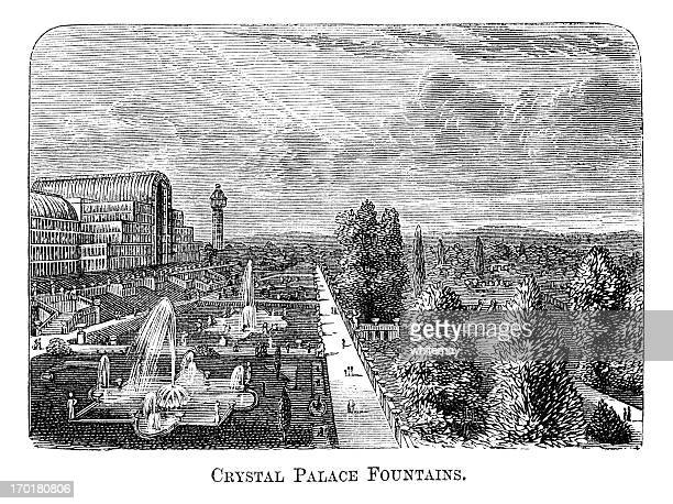 crystal palace fountains, sydenham (1871 engraving) - crystal palace london stock illustrations