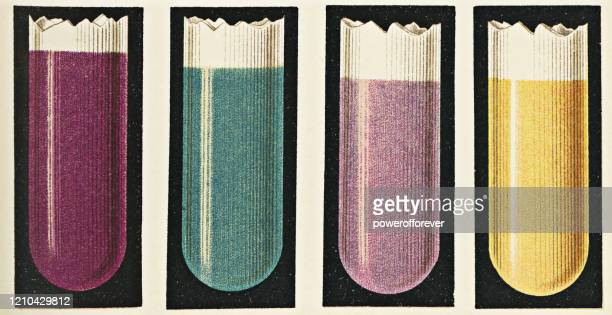 crystal violet test for hydrochloric acid and uffelmann reagent test for lactic acid in gastric acid - 19th century - ph value stock illustrations