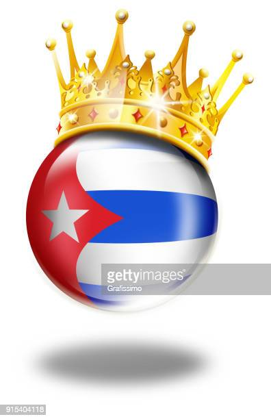 cuba button with cuban flag and winner crown isolated on white - cuban culture stock illustrations, clip art, cartoons, & icons