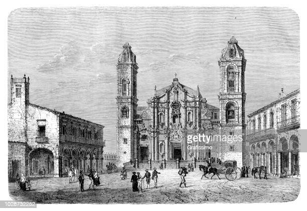 cuba havana cathedral illustration 1860 - cuban culture stock illustrations, clip art, cartoons, & icons