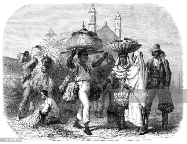cuba people selling bread and fruits on market in havana - cuban ethnicity stock illustrations, clip art, cartoons, & icons