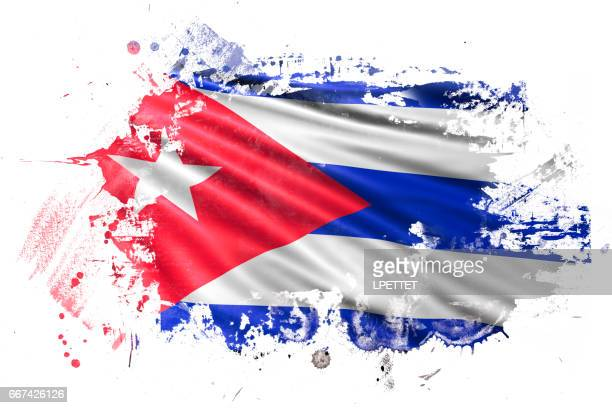 cuban ink grunge flag - cuban flag stock illustrations