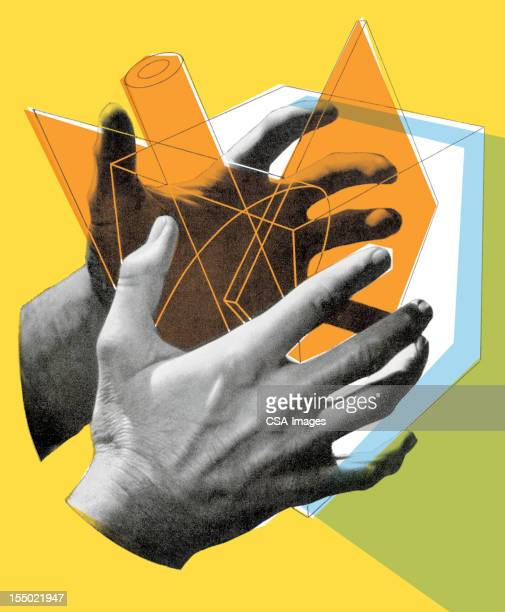 cube in hands - creativity stock illustrations