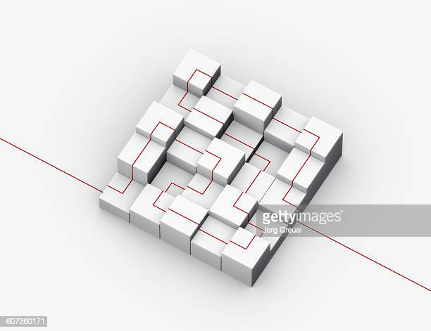 Cubes connected with a red line