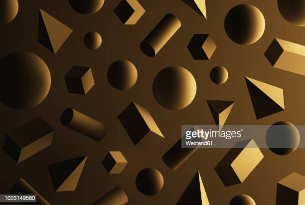 ilustraciones, imágenes clip art, dibujos animados e iconos de stock de cubes, pyramids, spheres and cuboids in front of brown background - monocromo imagen virada