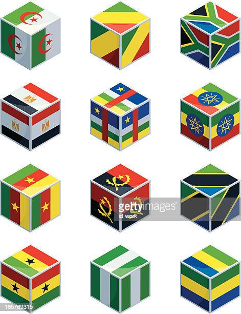 cubes with african national flags - ghana stock illustrations, clip art, cartoons, & icons