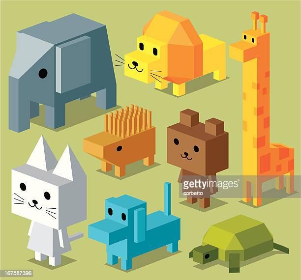 立方体の動物コレクション - ヤマアラシ点のイラスト素材/クリップアート素材/マンガ素材/アイコン素材