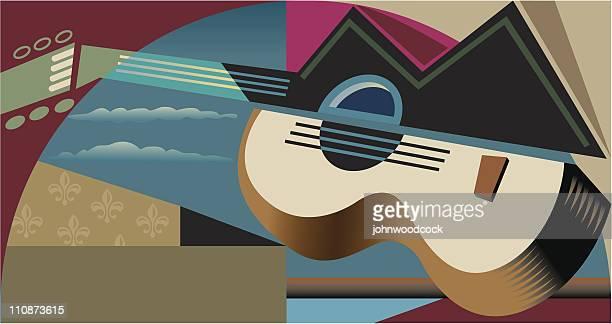 illustrations, cliparts, dessins animés et icônes de cubist guitare - cubisme