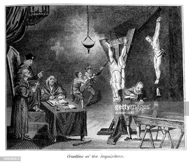 cuelties of the inquisitors - torture stock illustrations