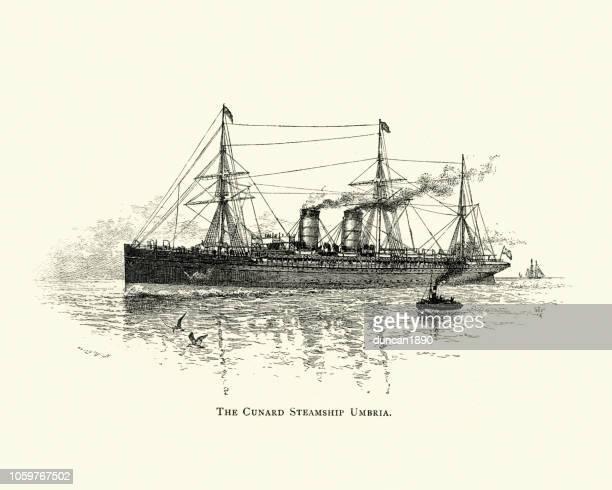 キュナード汽船 rms ウンブリア州 1891 - 遠洋定期船点のイラスト素材/クリップアート素材/マンガ素材/アイコン素材