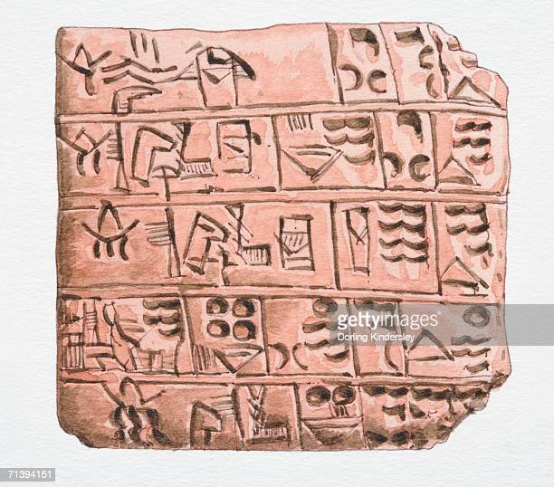 3000 bc cuneiform writing on clay slab, front view. - the_writer's_block stock illustrations