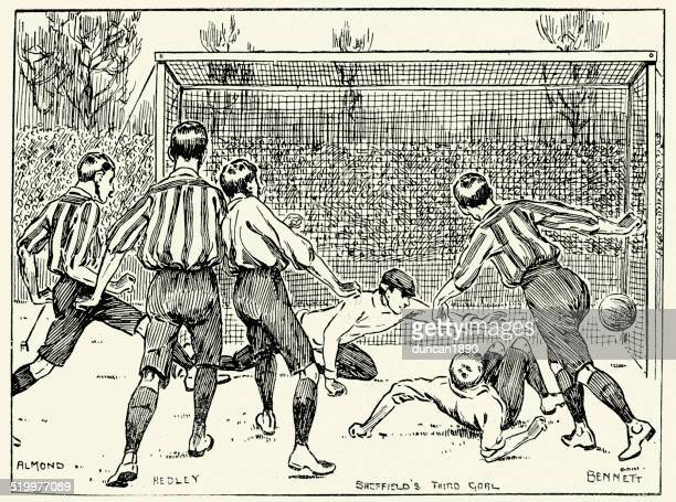 1899 fa cup final -  sheffield united vs derby county - sheffield stock illustrations
