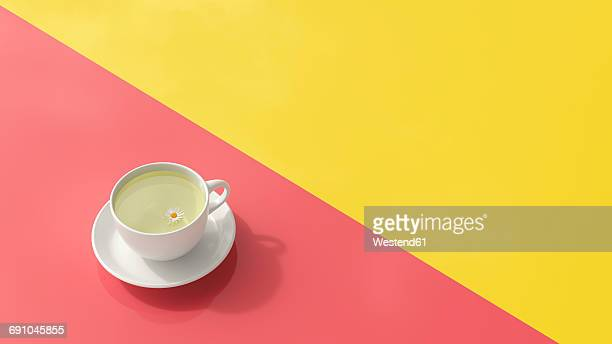 Cup of chamomile tea, 3d rendering