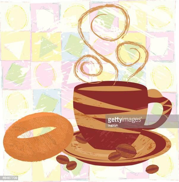 ilustraciones, imágenes clip art, dibujos animados e iconos de stock de taza de café y un bagel - al vapor