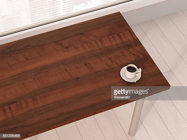 Cup of coffee on wooden table in an office, 3D Rendering