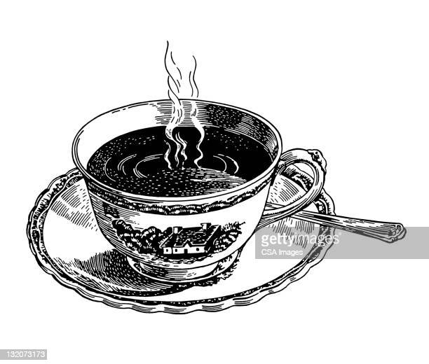 cup of coffee or tea - hot drink stock illustrations, clip art, cartoons, & icons
