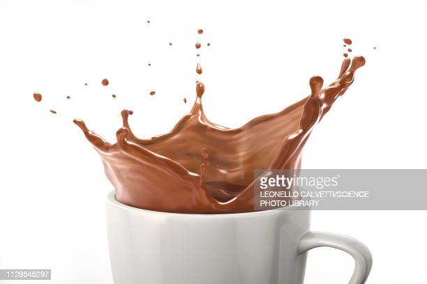 cup with milk chocolate splash, illustration - milk chocolate stock illustrations, clip art, cartoons, & icons