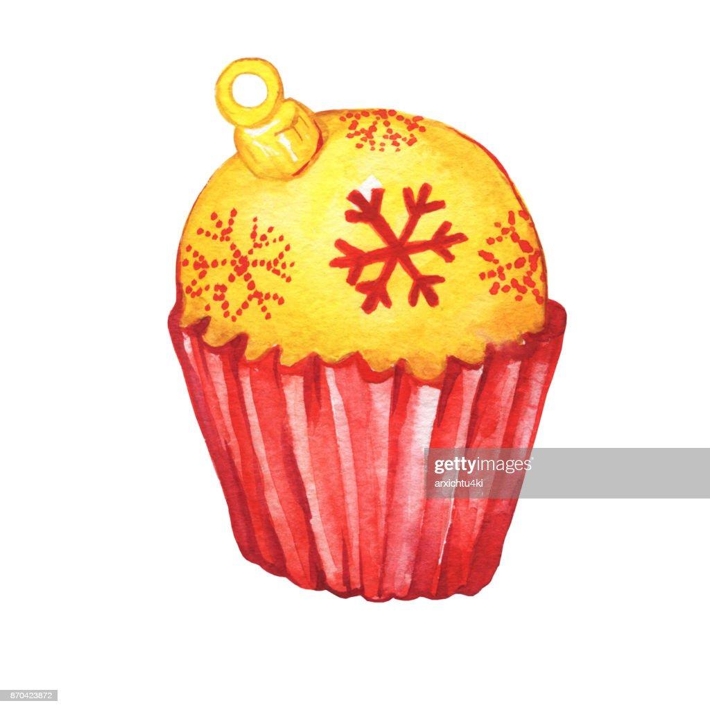 Cupcake Eine Goldene Weihnachten Kugelform Weihnachtsdekoration Für
