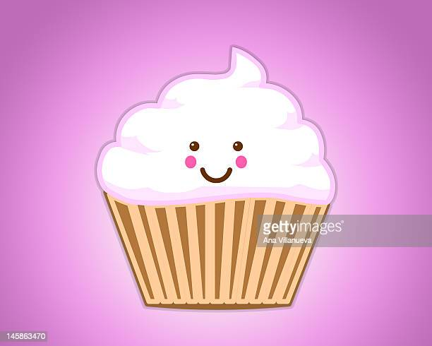 cupcake - whipped cream stock illustrations, clip art, cartoons, & icons