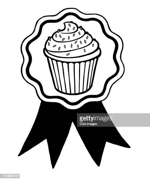 cupcake prize ribbon - cake stock illustrations