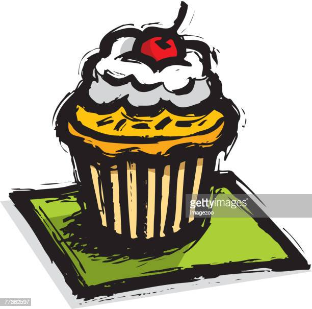 cupcake with a cherry on top - dessert topping stock illustrations, clip art, cartoons, & icons