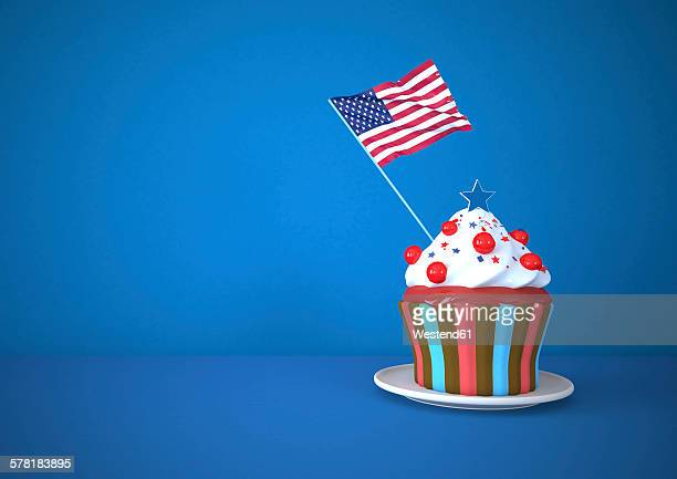 cupcake with us american flag against blue background - cake stock illustrations