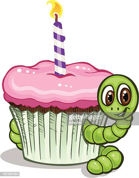 abc cupcake worm - dessert topping stock illustrations, clip art, cartoons, & icons