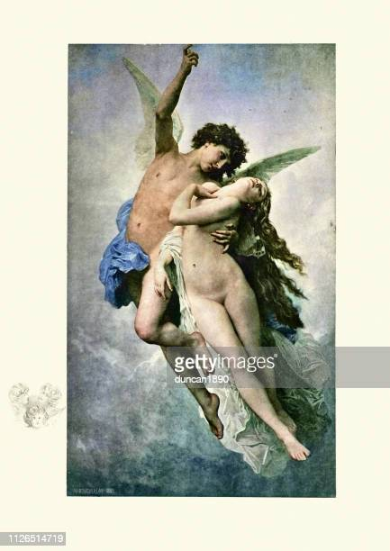 cupid and psyche by william adolphe bouguereau - cupid stock illustrations