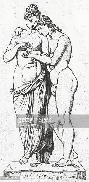 cupid and psyche engraving - greek people stock illustrations, clip art, cartoons, & icons